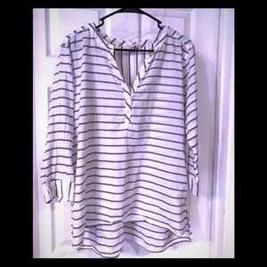 Flowy linen blue and white striped blouse!